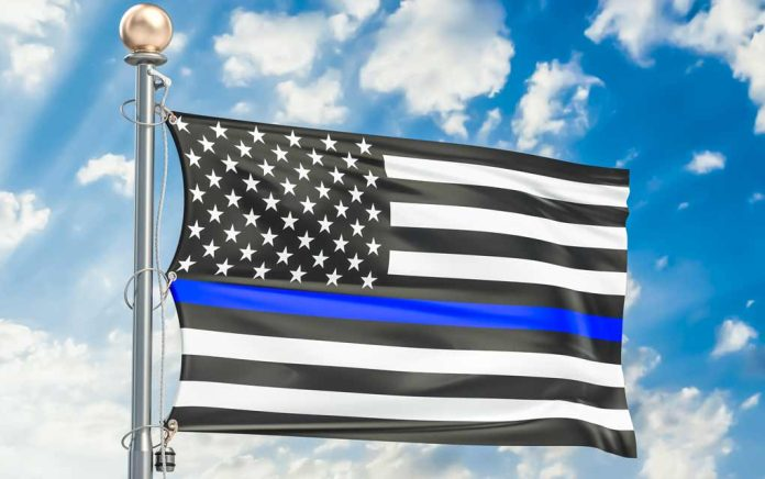 Thin Blue Line Flags Forced Down